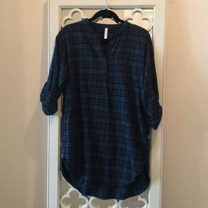 Blue and Green Plaid Flannel Tunic